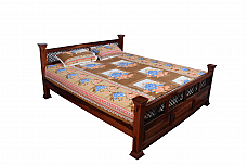 Mehar Mugal Jali work King size Bed in Seesham wood