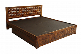 Shimoga Tile Bed King size Distress Yellow finish One on One