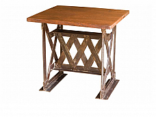 Iron Grilled Industrial Wooden Table