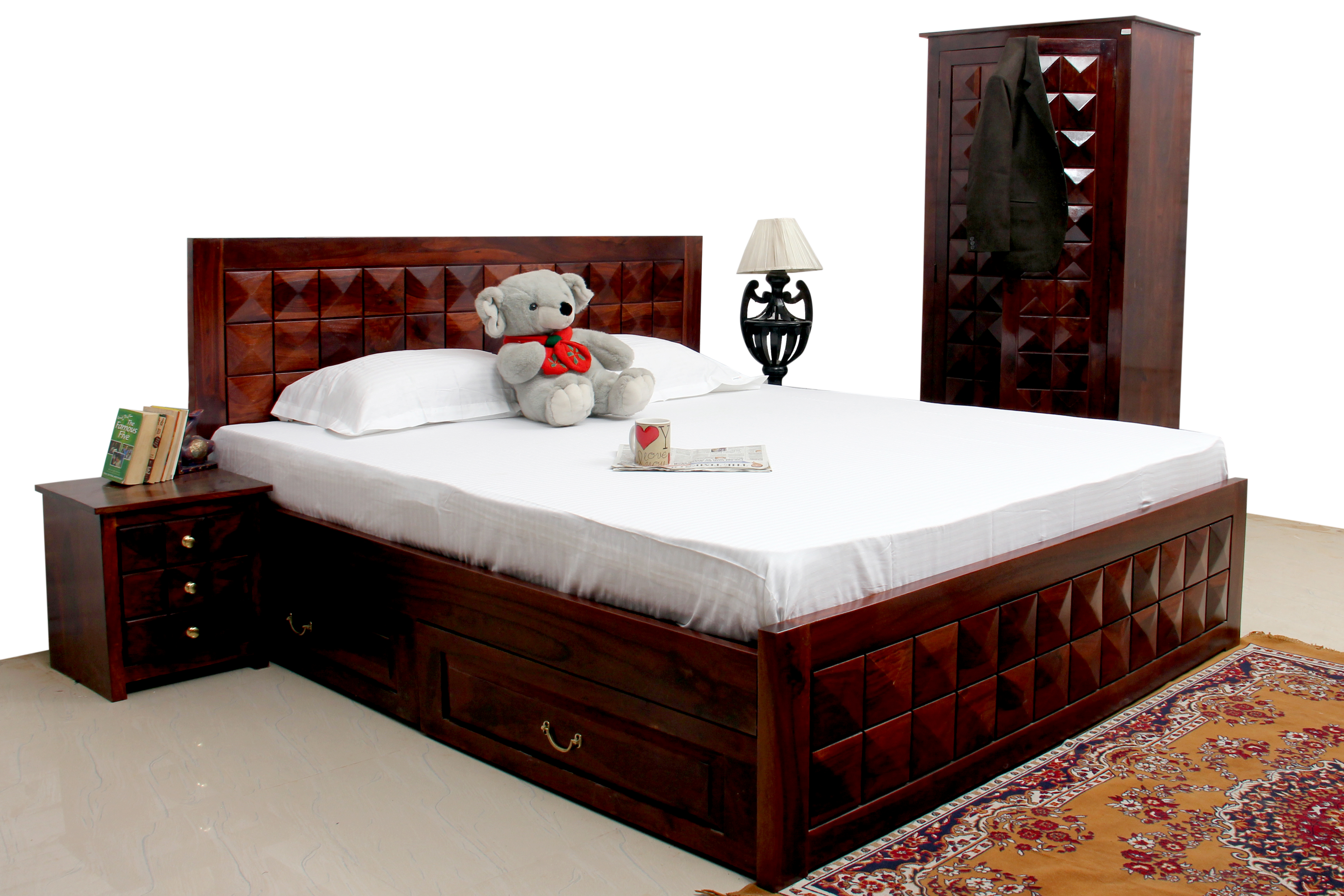 Antilia Diamond Bed Queen size with storage Drawer + Bedside